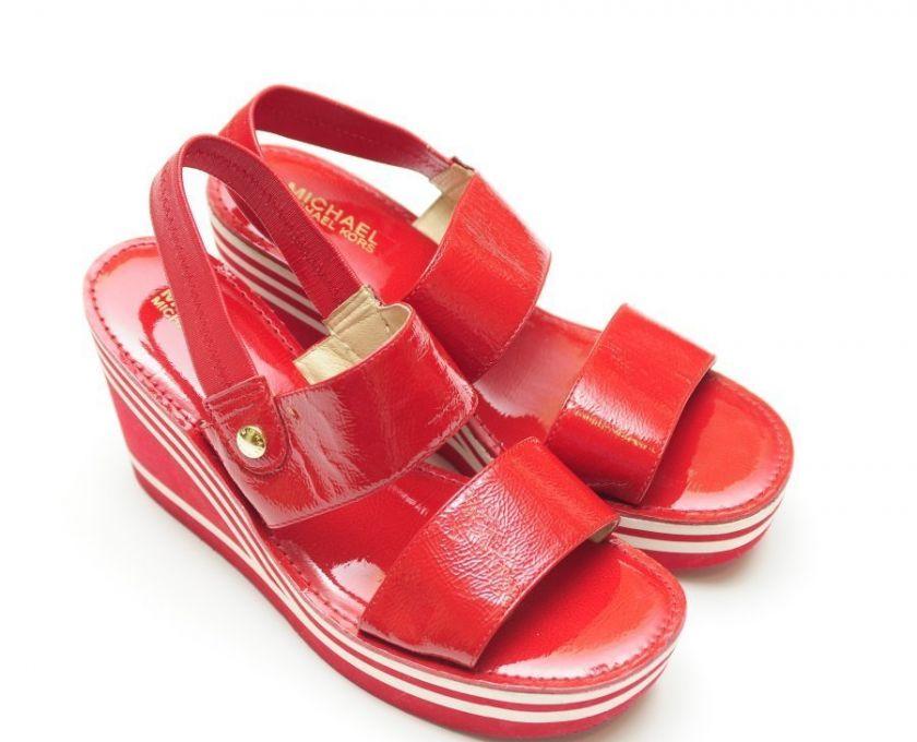 Michael Kors Red Patent Leather Wedge Slingback Sandal Shoe 9 1/2