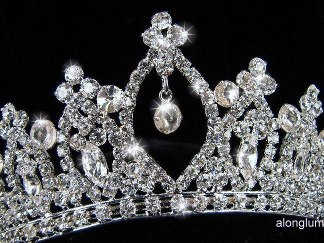 Bridesmaid Prom Party Dangling Droop Swarovski Crystal Tiara