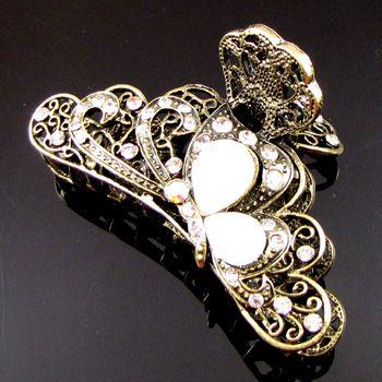 ADDL Item  1p rhinestone crystal Antiqued butterfly hair