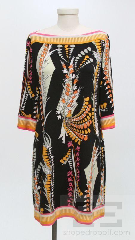 Ali Ro Black Multicolor Print Boat Neck 3/4 Sleeve Dress Size 12P