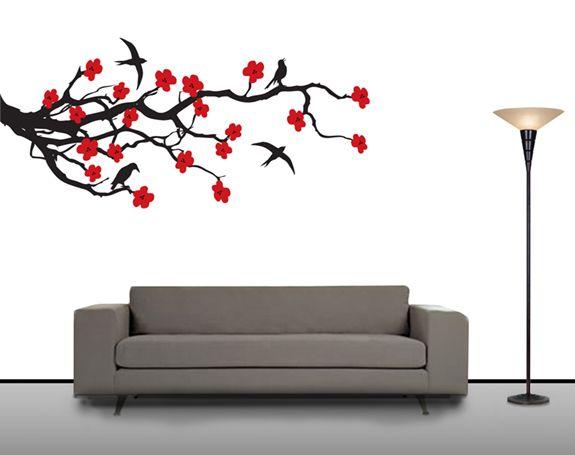 Cherry Blossom Wall Art Decal Sticker Vinyl Mural
