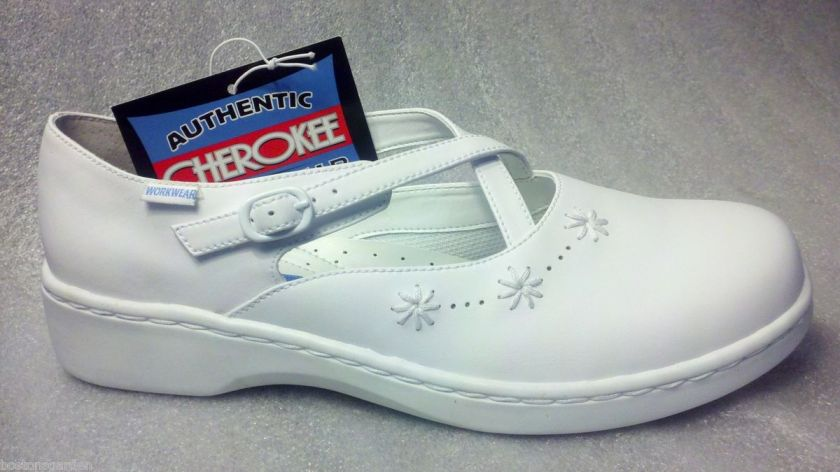 Authentic CHEROKEE Peace White Leather Strap Nurse Shoes 9,9.5,10