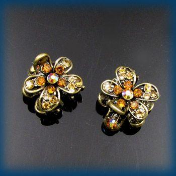 2pc rhinestone crystal antiqued flower hair claw