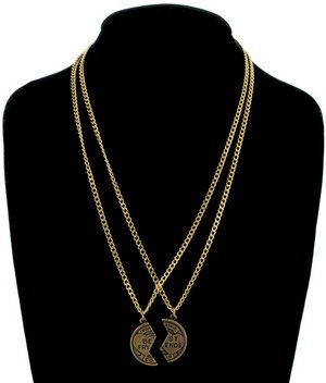 Necklace BFF Set Friendship Coin Best Friends Gold Tone Pendant