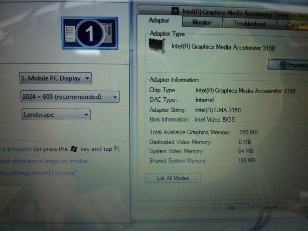 Dell Inspirion Mini Laptop 1012 Netbook Intel Atom 1Gb Web Cam Windows