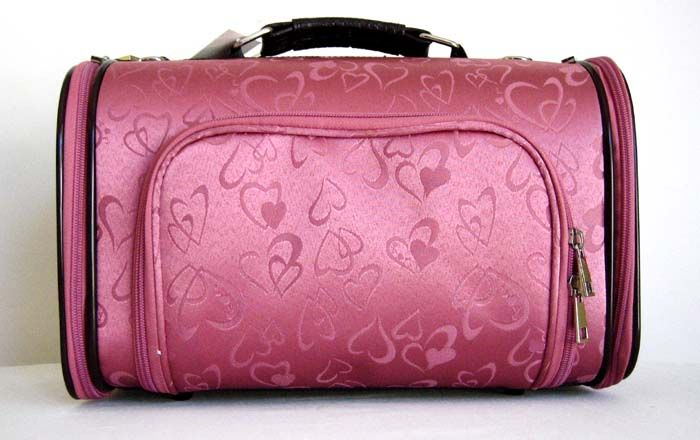 15 Pet Luggage Carrier Dog Cat Travel Bag Pink Hearts